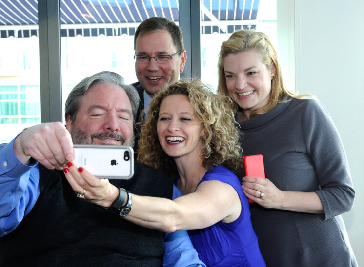 World Trade Center Seattle, impromptu selfie with CEOs from KING5 News, Alaska Air, Moz and author Teri Citterman