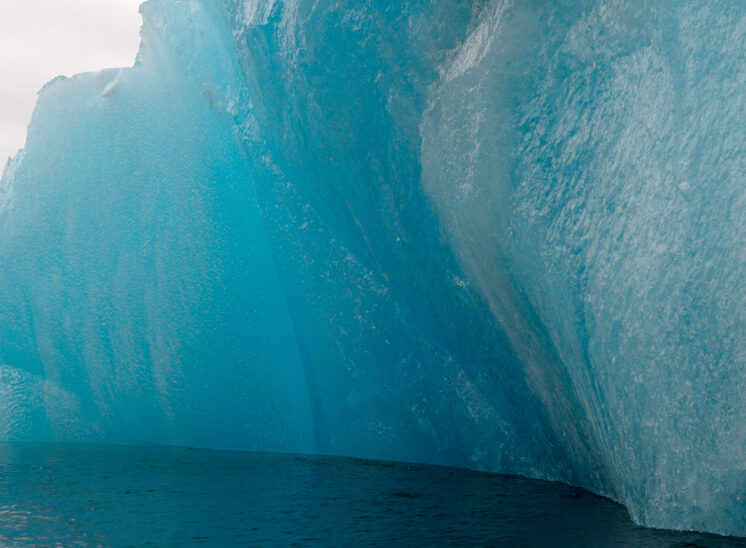 Iceberg up close with stunning blue